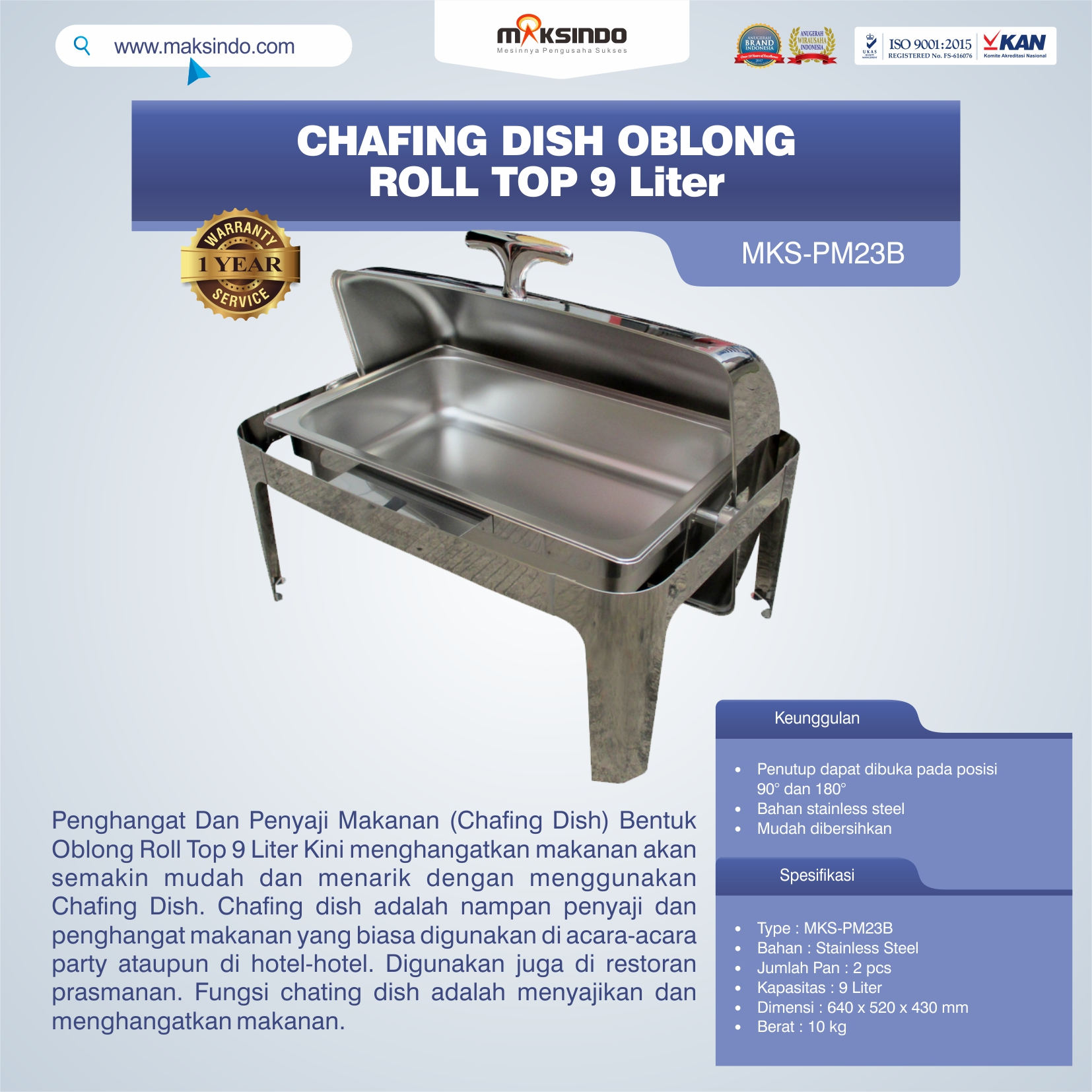 Chafing Dish Oblong Roll Top – 9 Liter