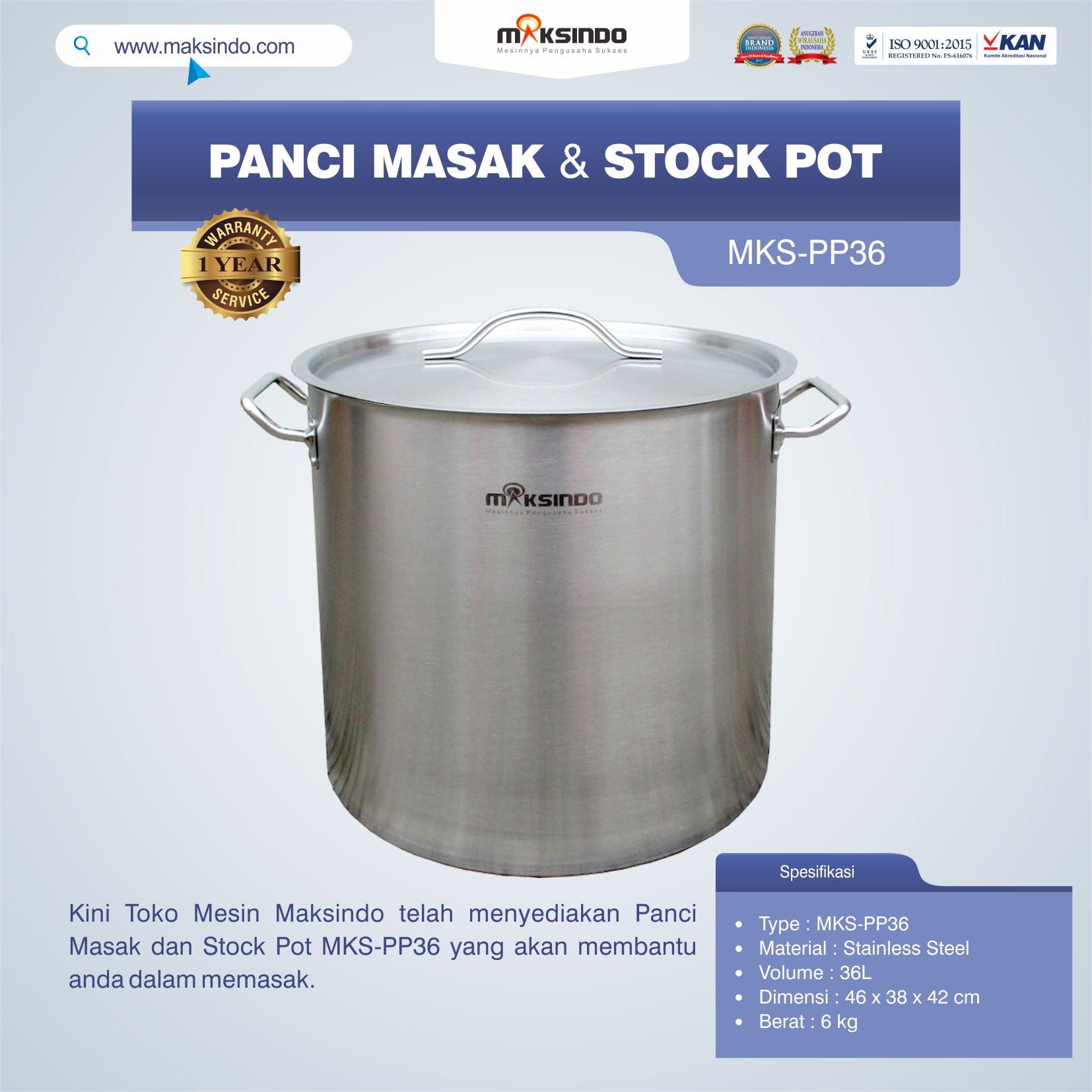Panci Masak Dan Stock Pot MKS-PP36
