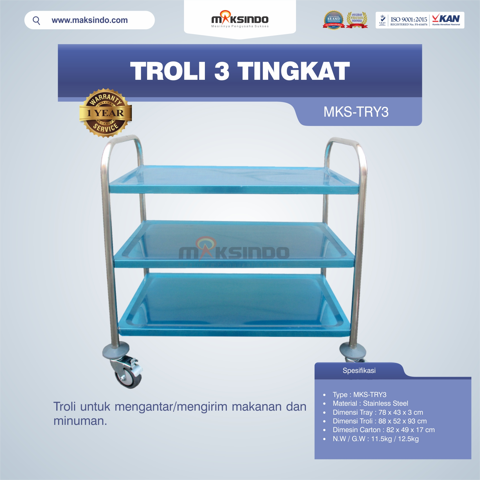 Troli 3 Tingkat MKS-TRY3