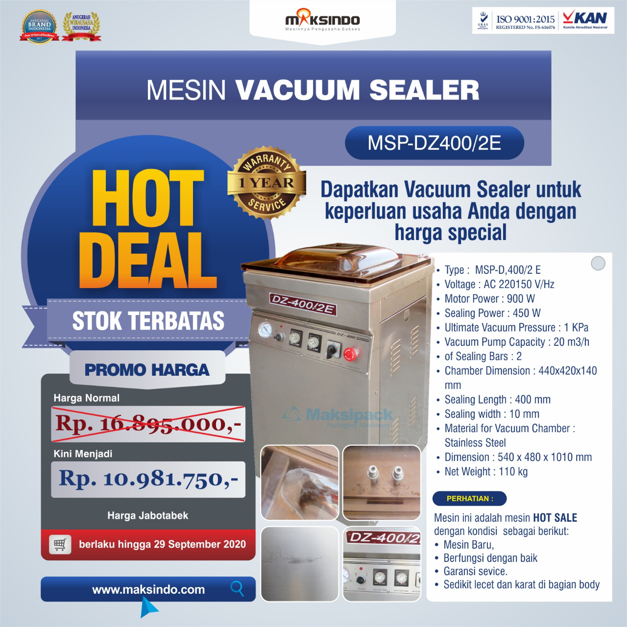 Mesin Vacuum Sealer Type MSP-DZ400/2 E