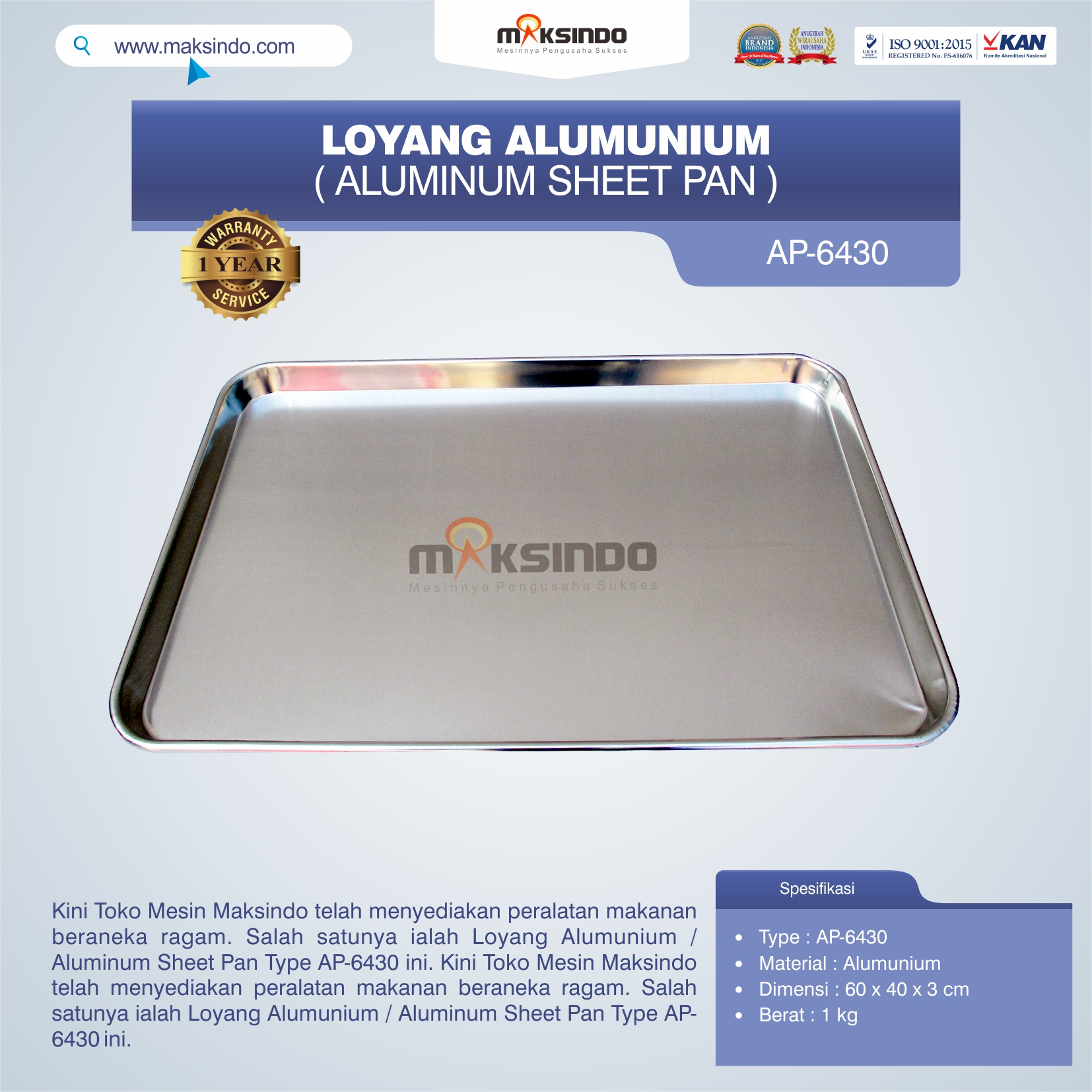 Loyang Alumunium / Aluminum Sheet Pan Type AP-6430