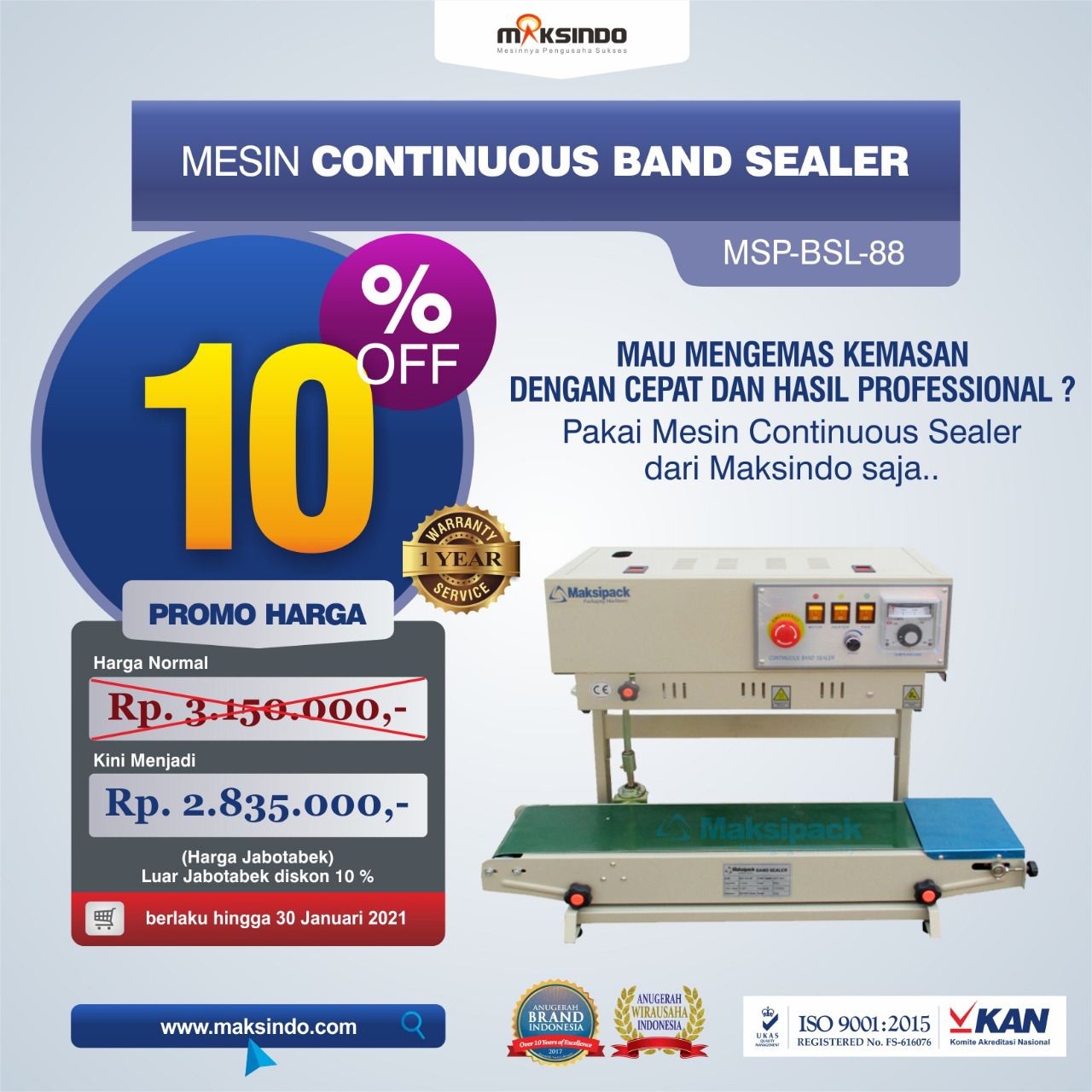 Mesin Continuous Band Sealer MSP-BSL-88