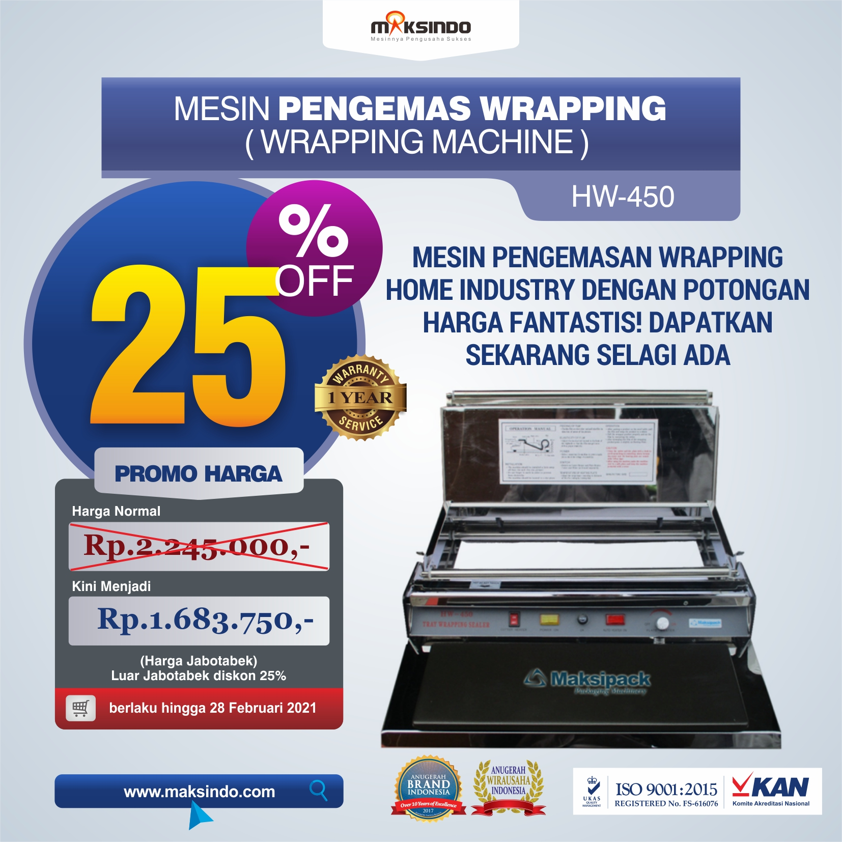 Mesin Pengemas Wrapping HW-450