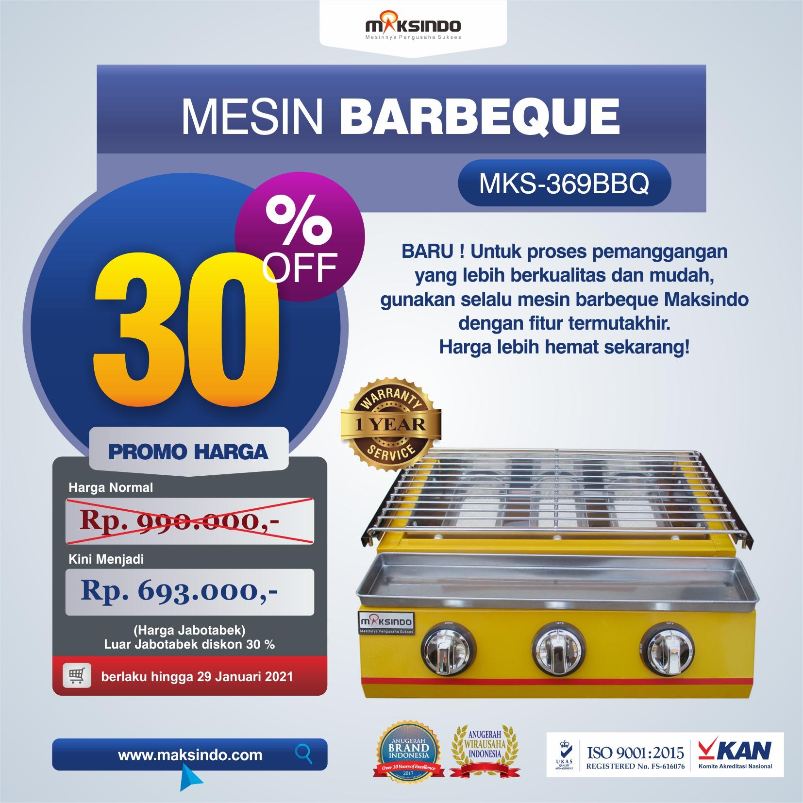 Mesin Pemanggang Sate – BBQ 3 Tungku (Gas) MKS-369BBQ